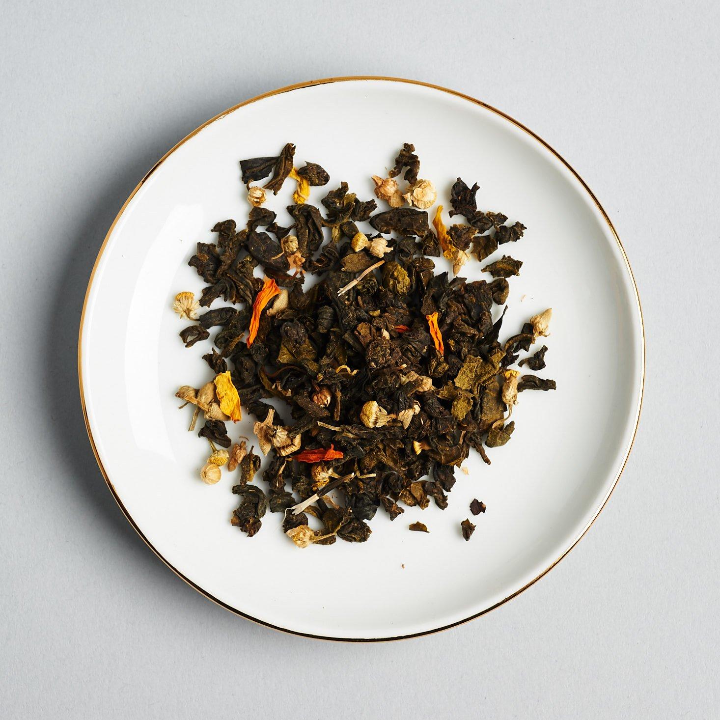 calming green tea loose in dish