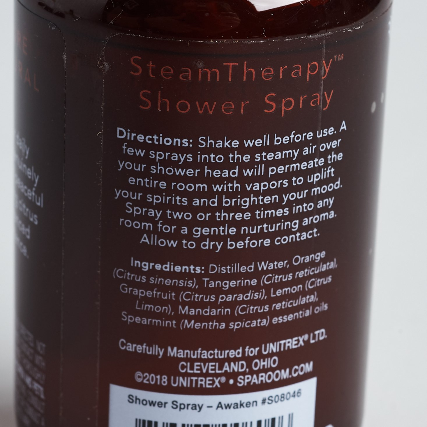 shower spray text on bottle