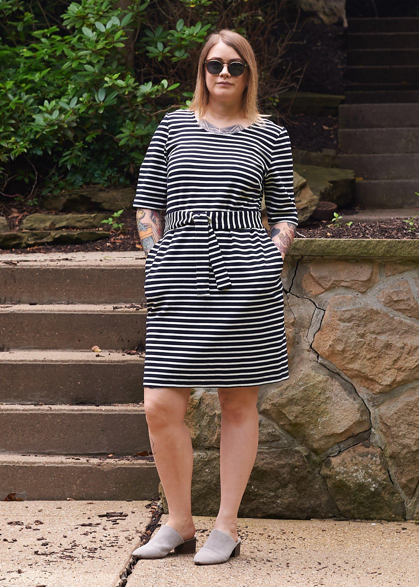Marne wearing striped dress