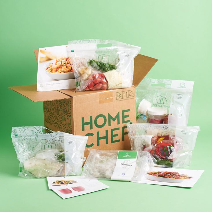 home chef delivery showing all of box contents