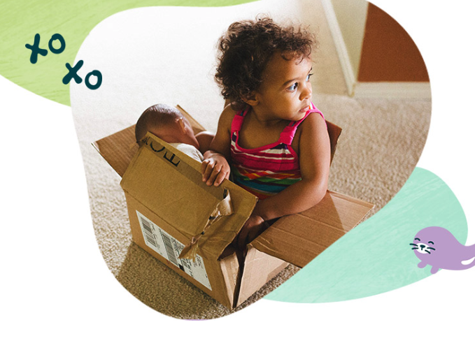 cute baby sitting in an amazon box, plus cheerful, colorful graphics