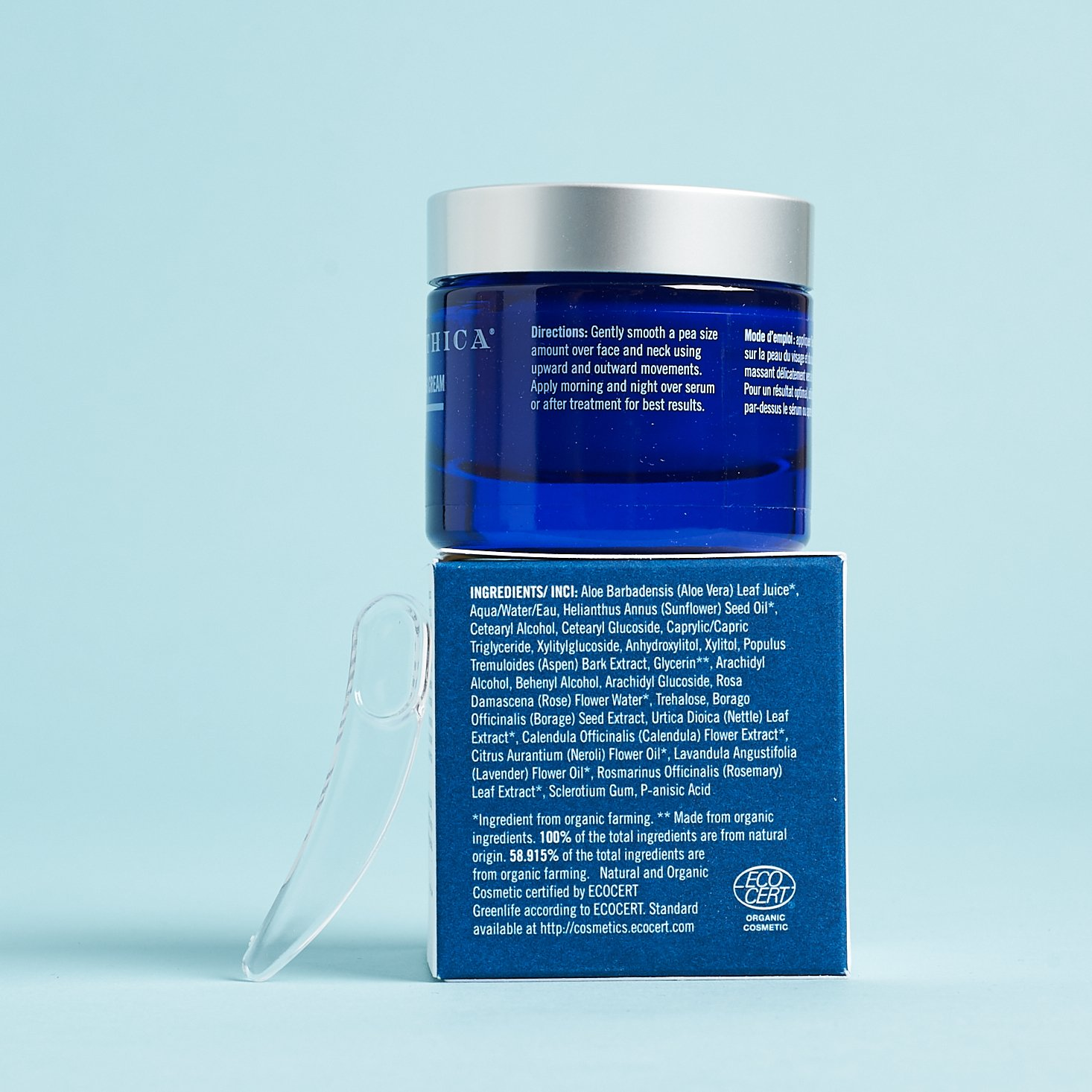 Naturopathica Calendula Essential Hydrating Cream on top of box showing ingredients