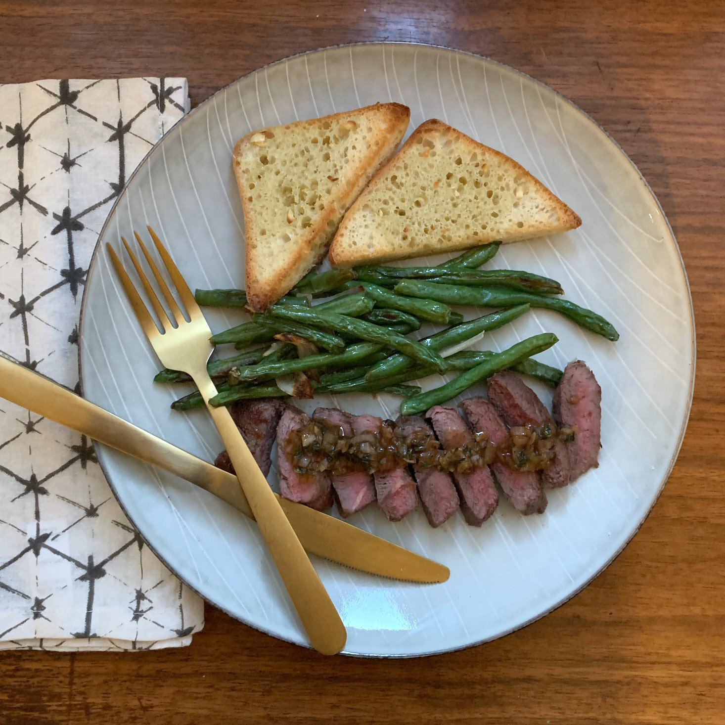 Completed Party Thyme Steak meal on plate