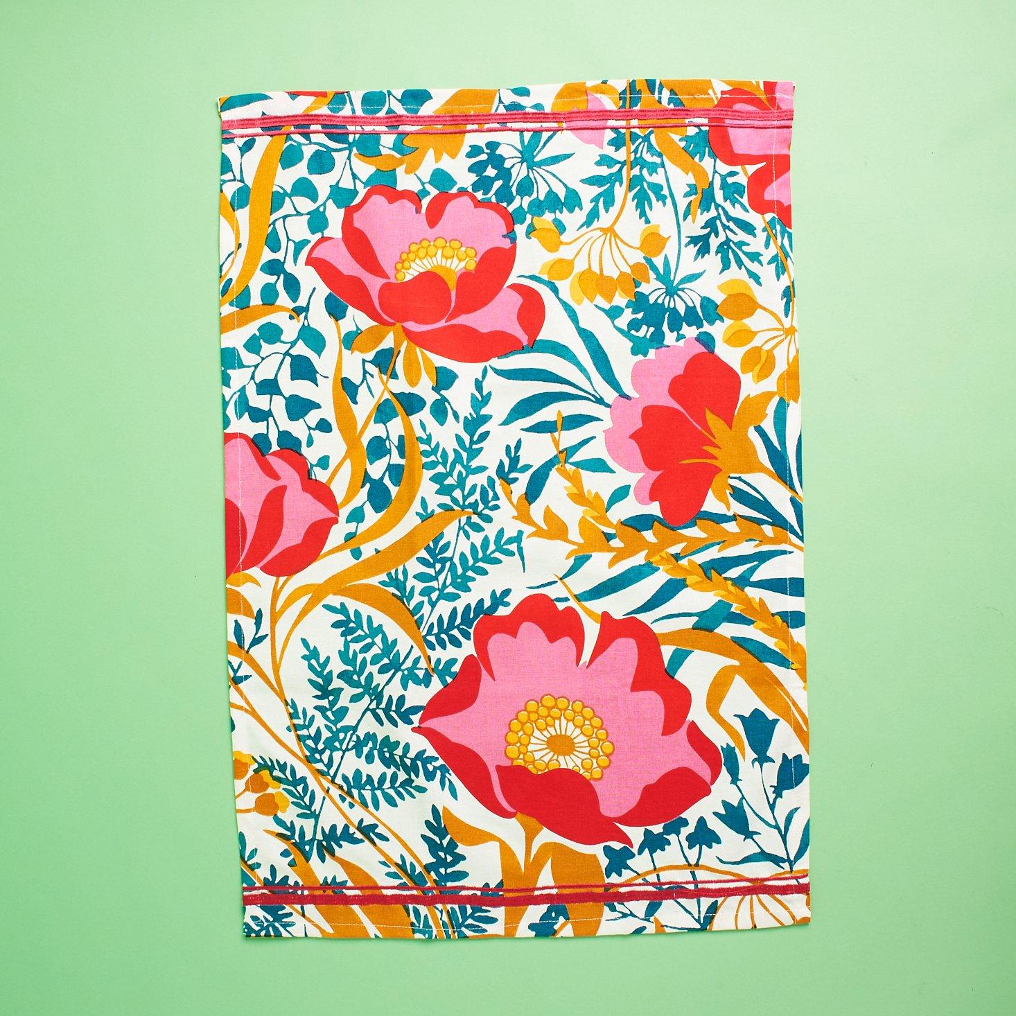 red embroidered seams on tea towel