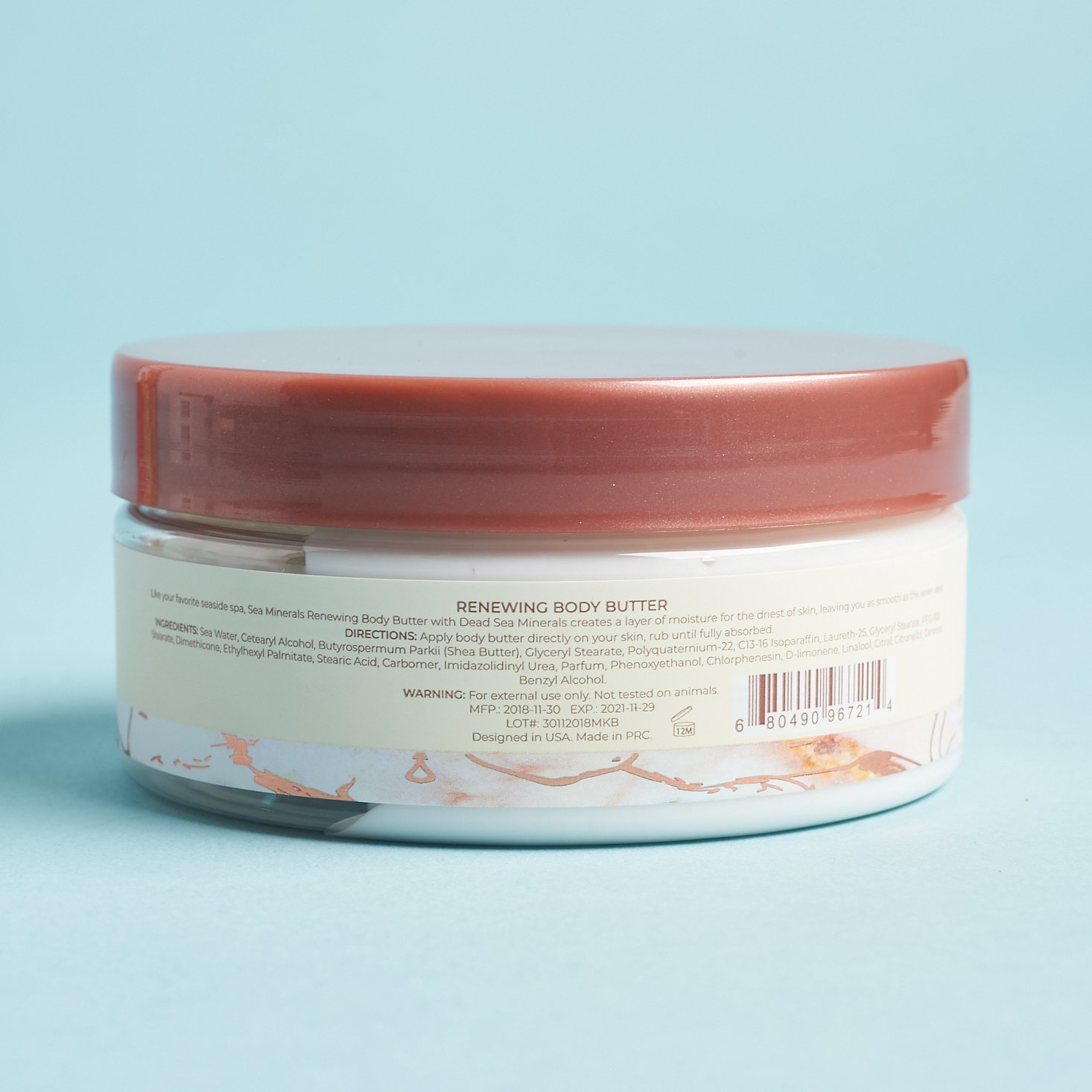 Directions and ingredients for Manna Kadar Beauty Sea Minerals Renewing Body Butter