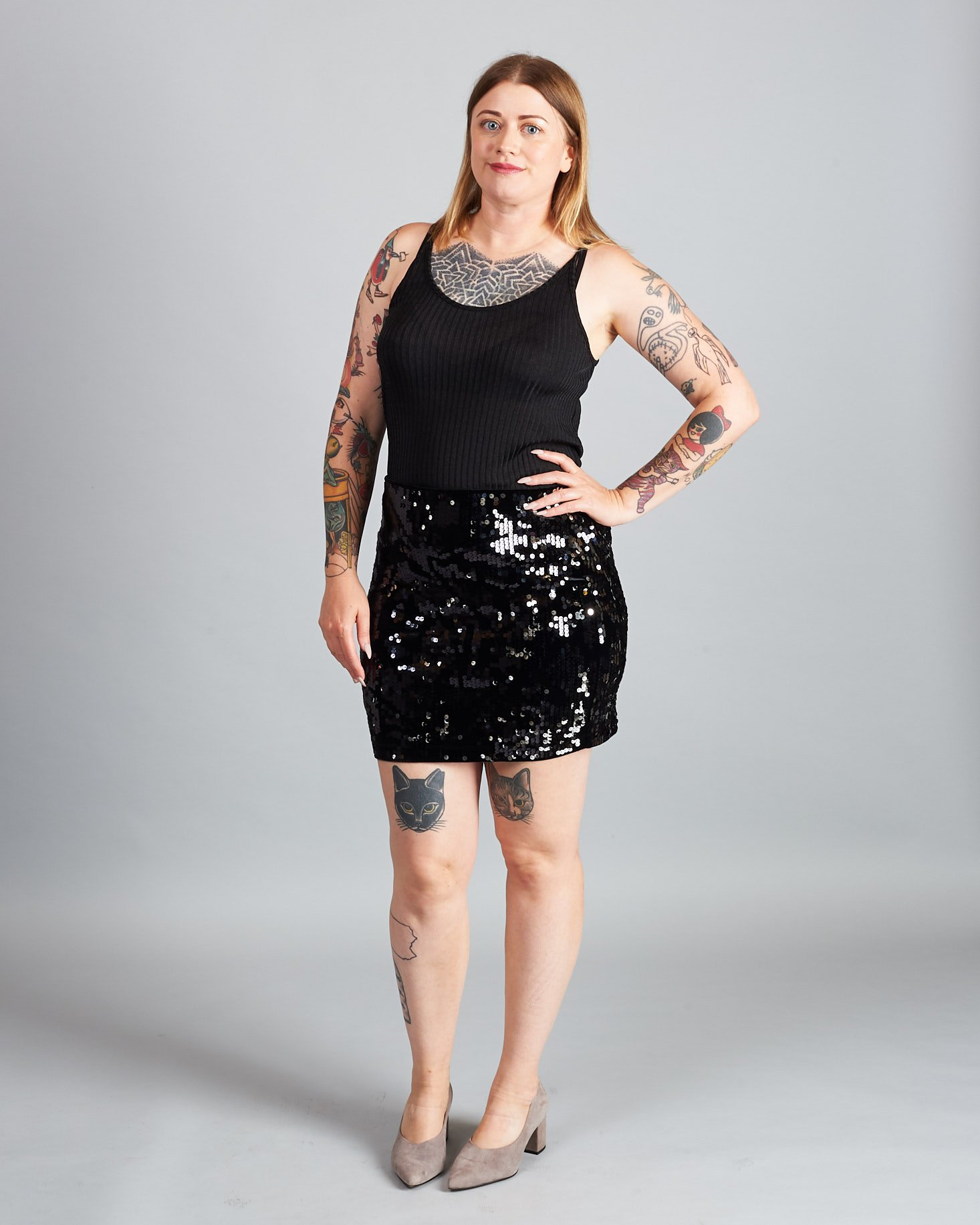 Marne in High Waisted Velvet Sequin Mini Skirt in Black and Fine Ribbed Cami in Black