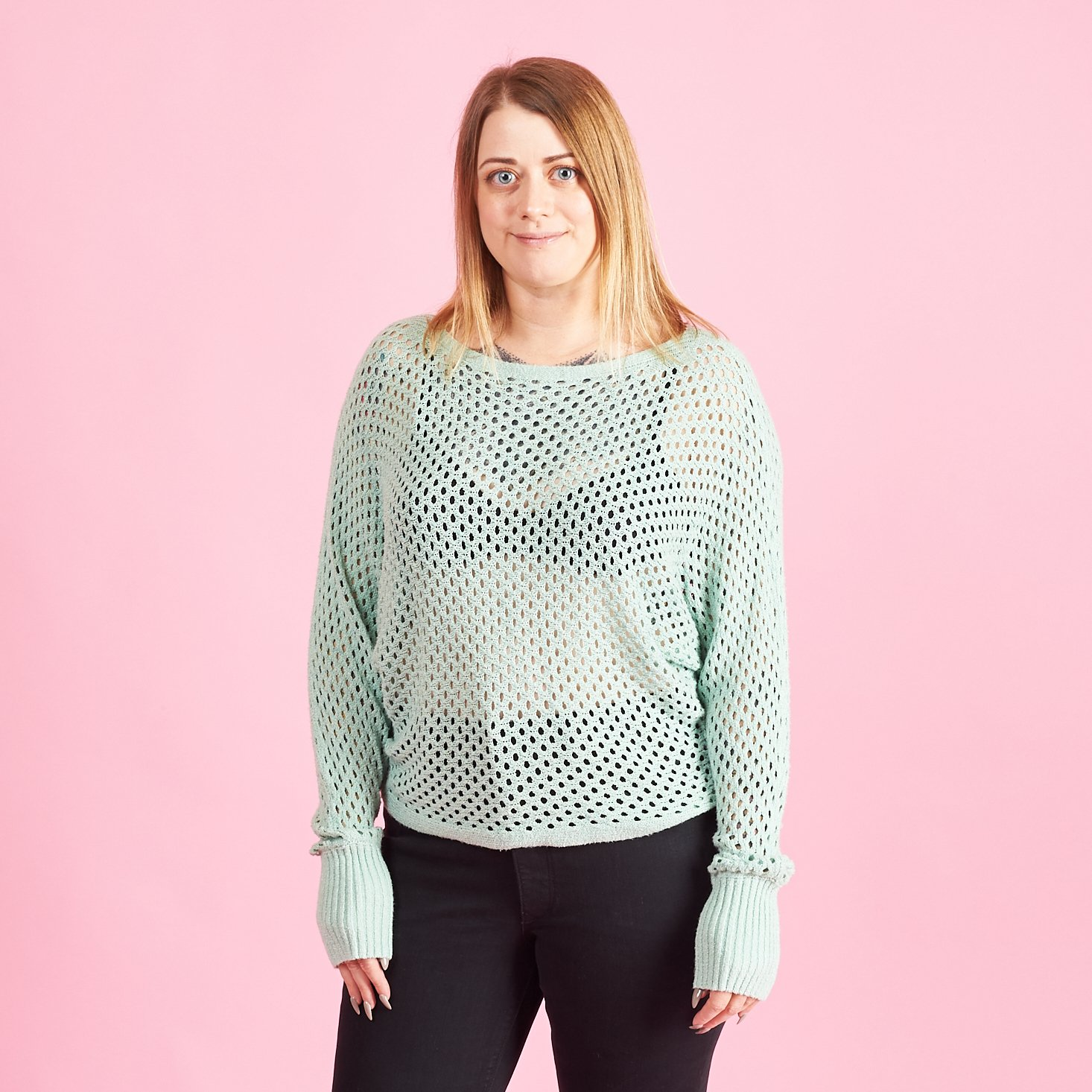 Marne in Open Stitch Dolman Sleeve Sweater in Light Green