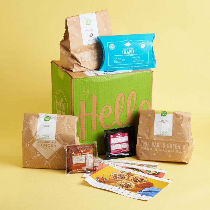 hellofresh delivery showing box contents posed around box