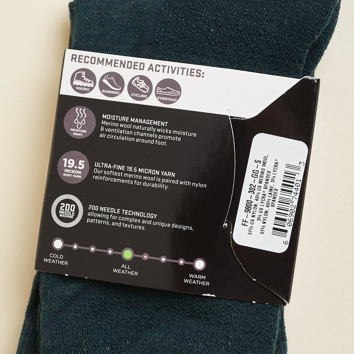 back of Farm to Feet Lightweight Technical 3/4 Crew sock packaging