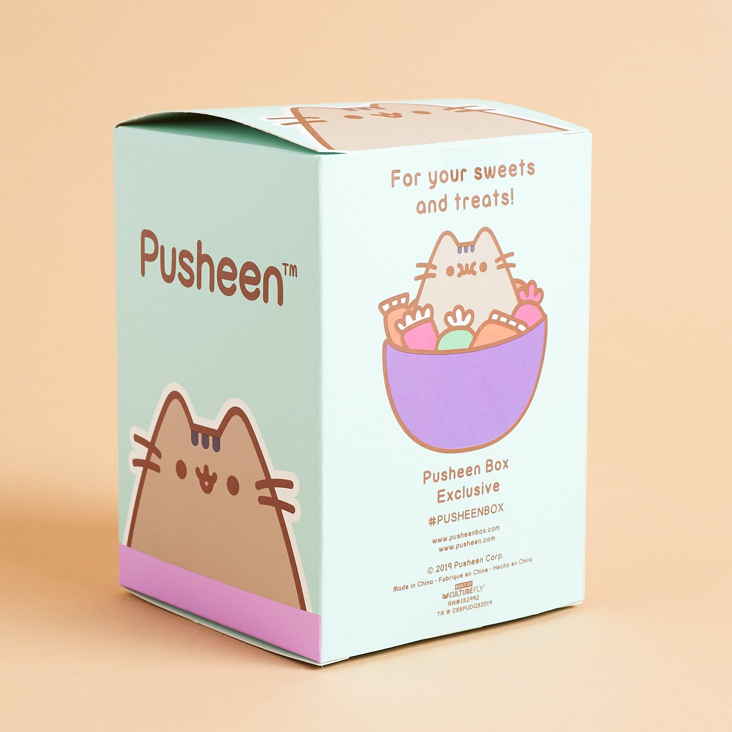 back of Pusheen candy corn plastic jar box