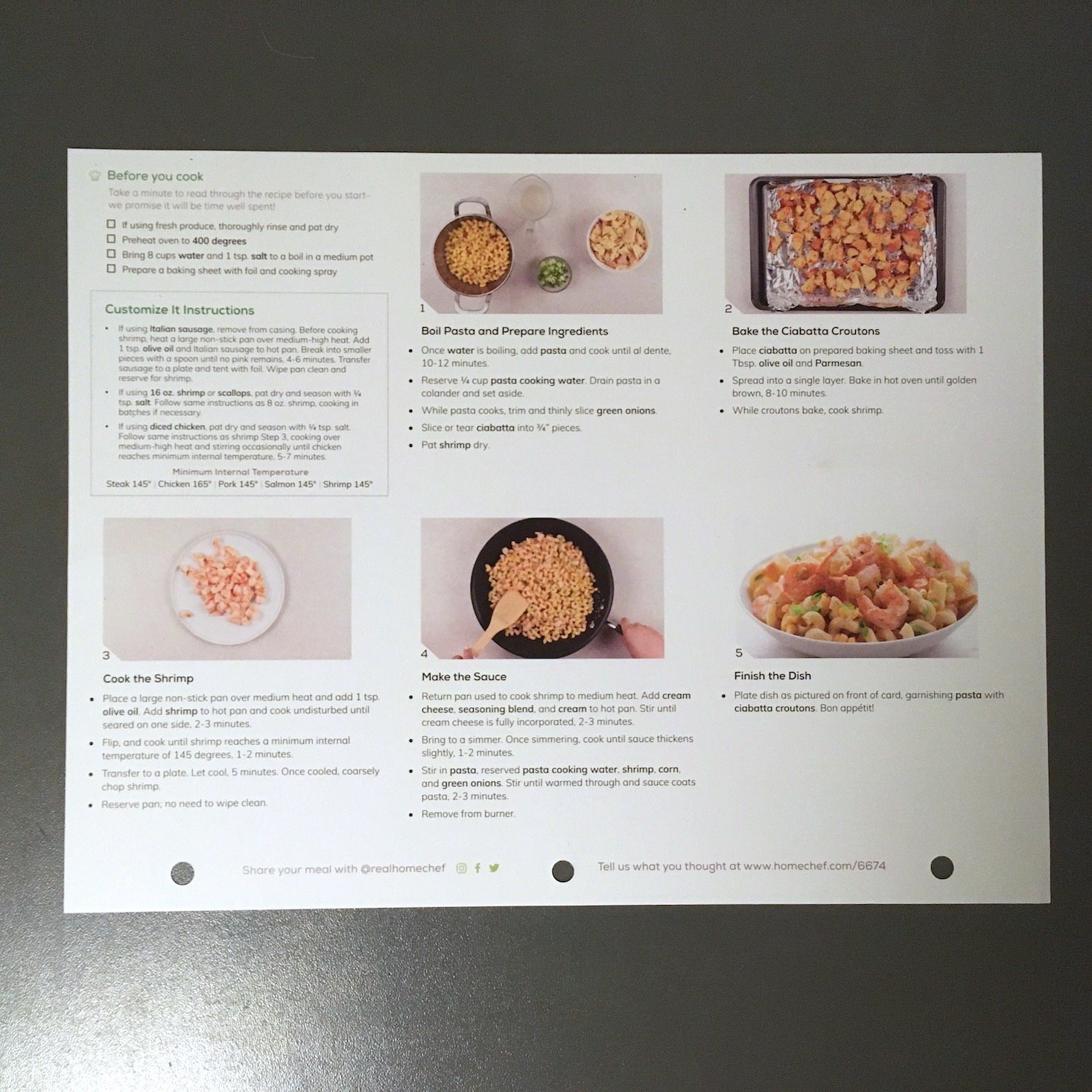 shrimp pasta recipe card back