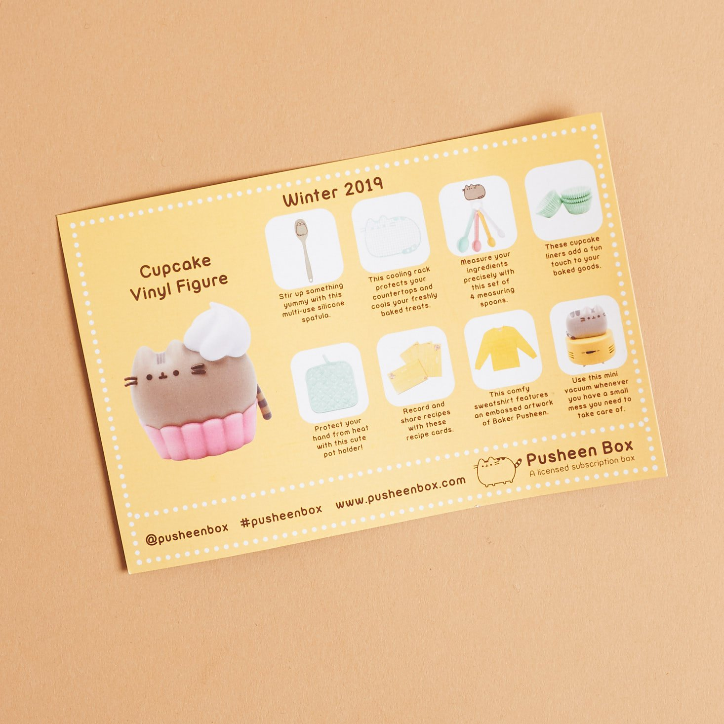 Pusheen info card listing items