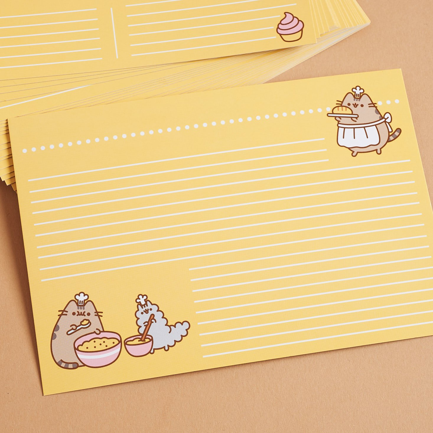 close up of back of Pusheen recipe card