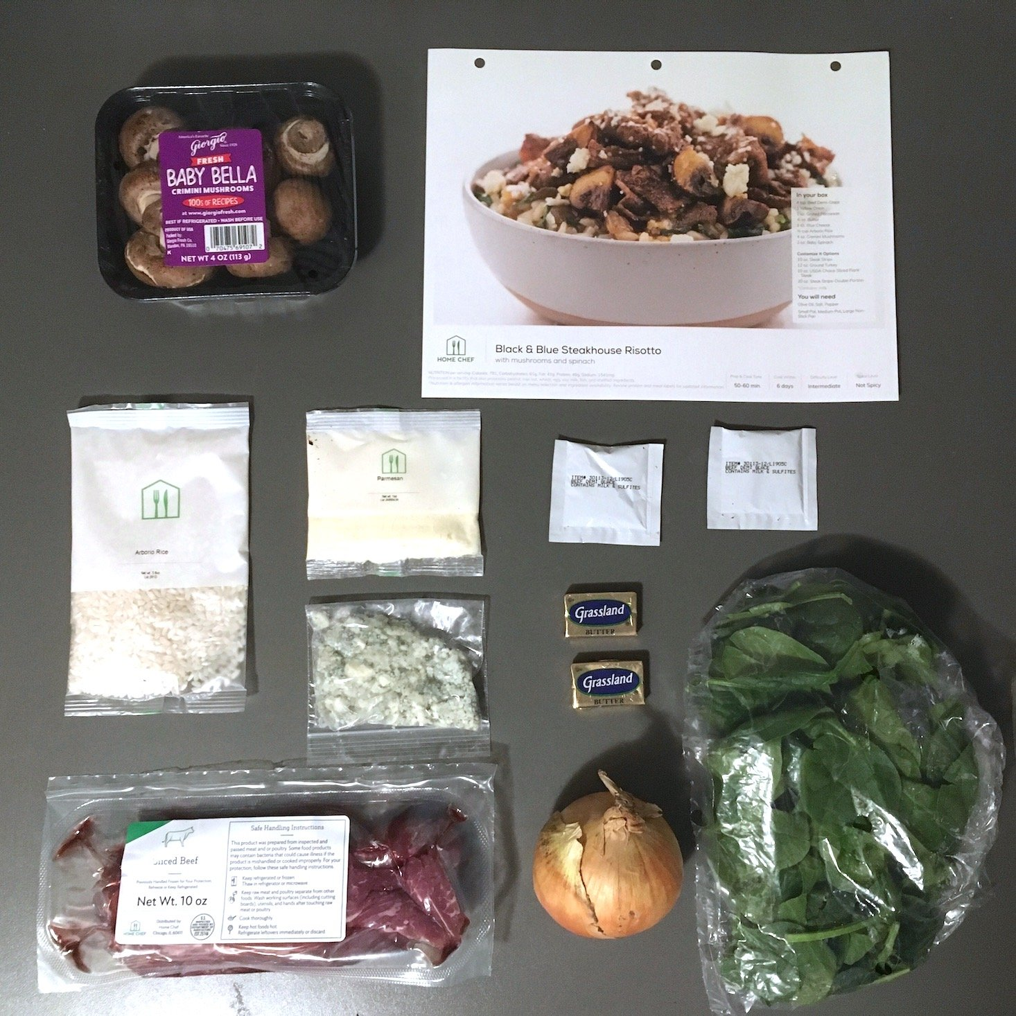 steak risotto ingredients laydown