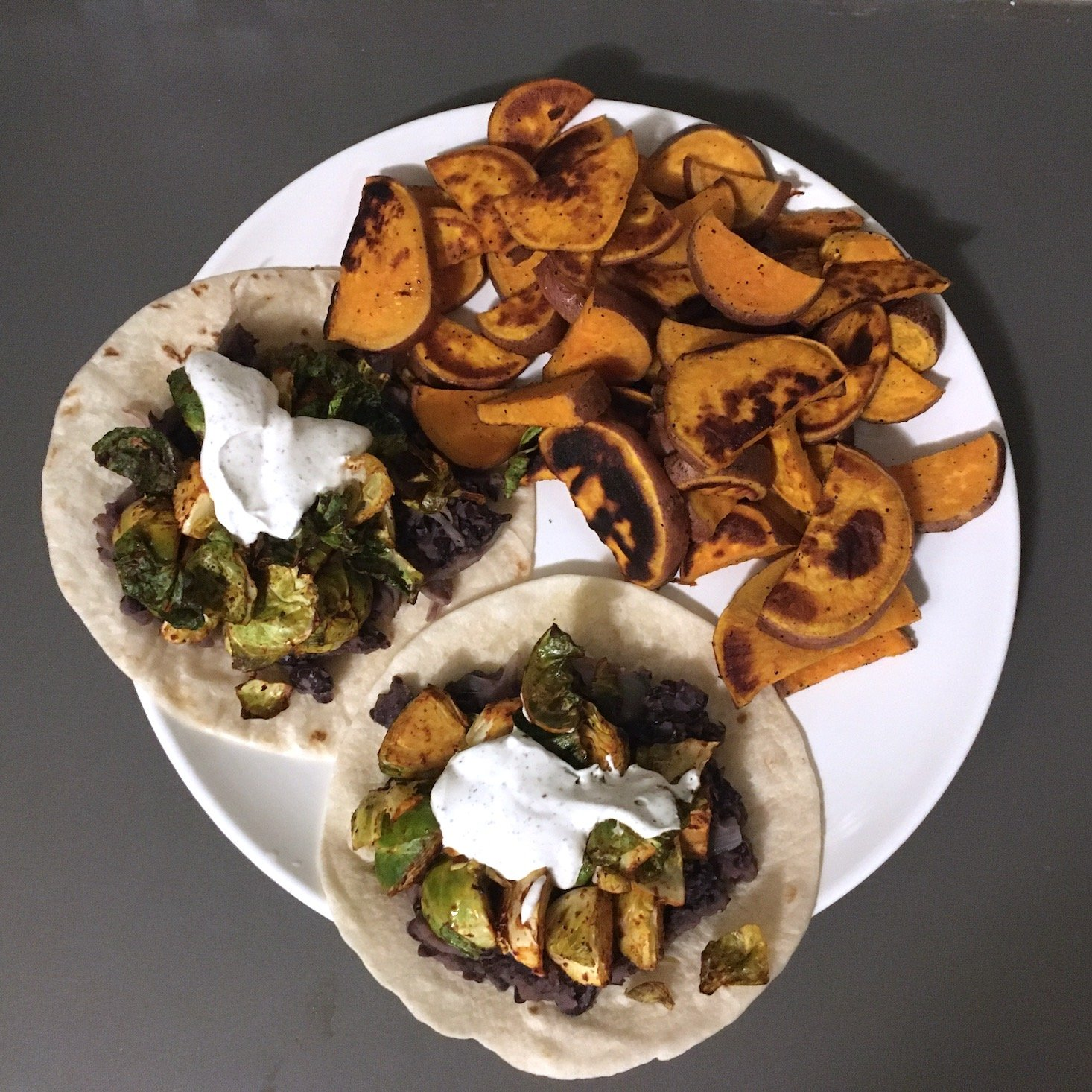 Blue Apron February 2020 - veggie tacos plated top view