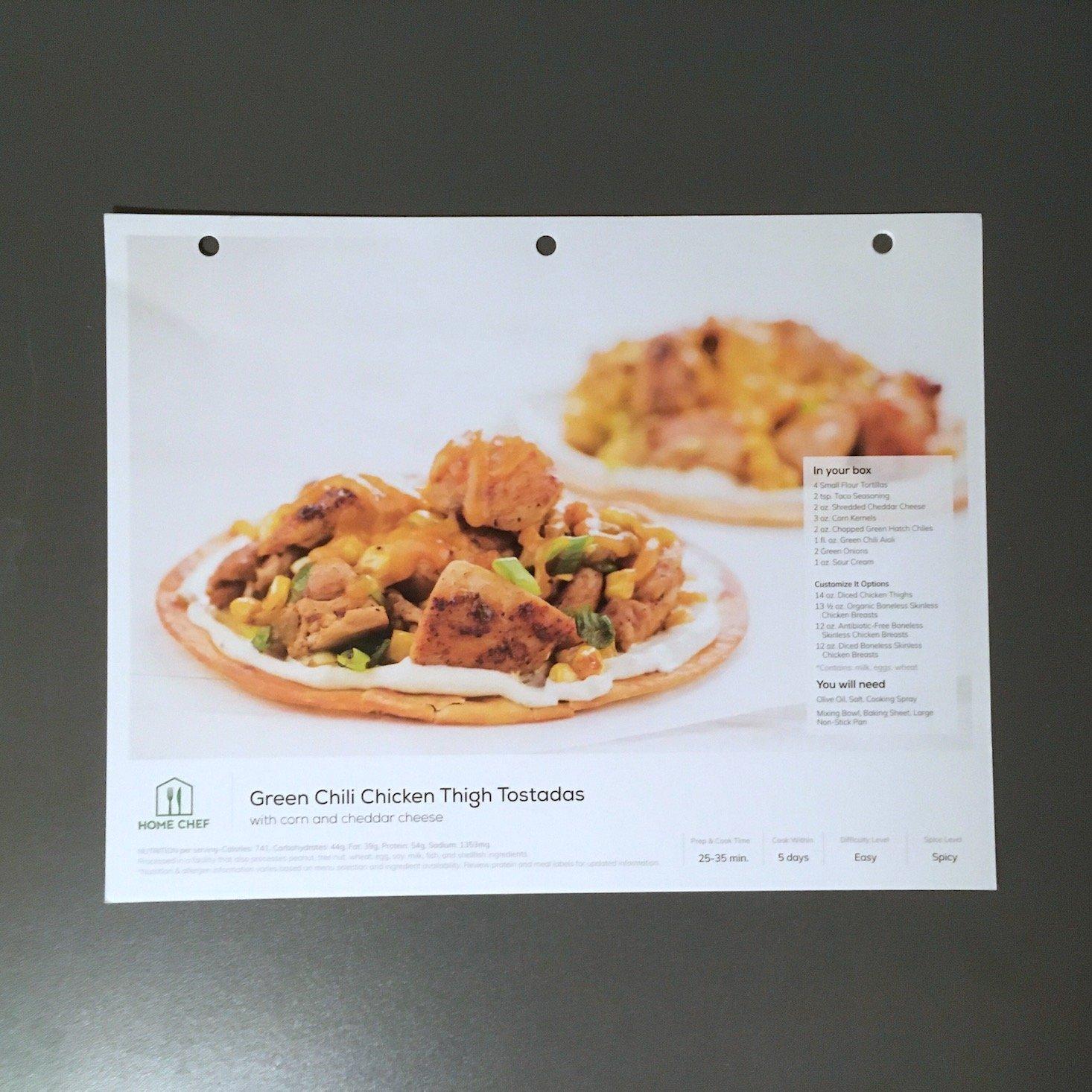Home Chef February 2020 - chicken thigh tostadas recipe card front