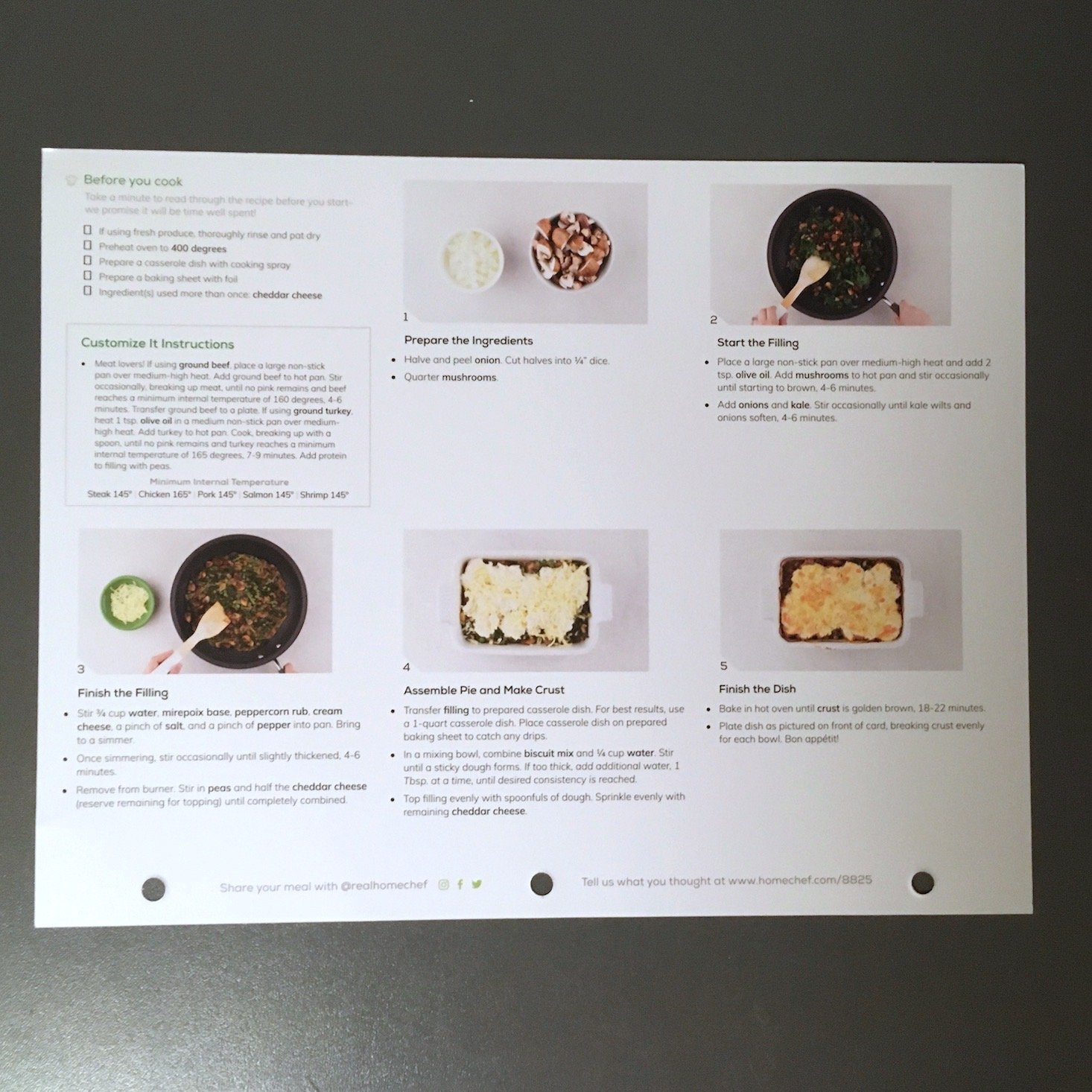 Home Chef February 2020 - mushroom and kale pie recipe card back