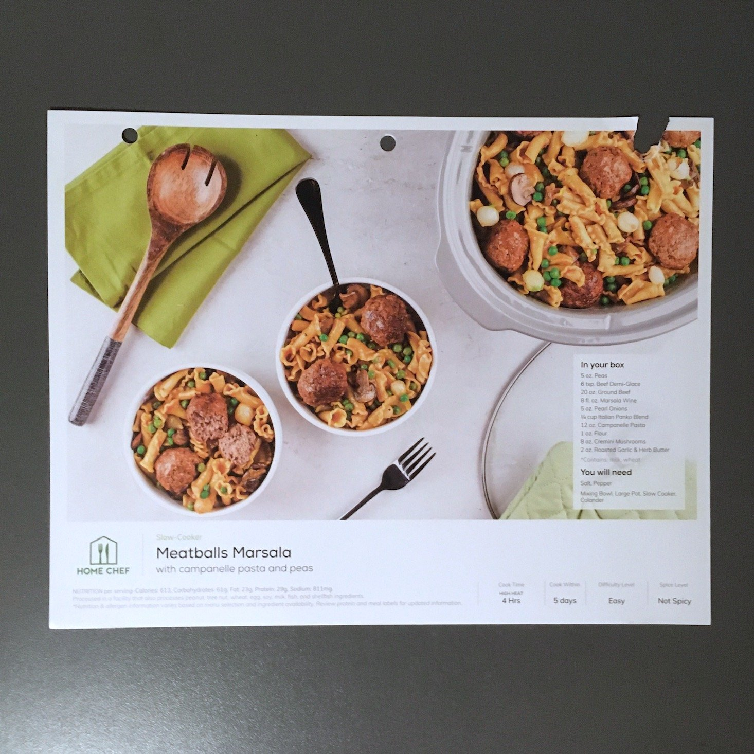 Home Chef February 2020 - slow cooker meatballs marsala recipe card front
