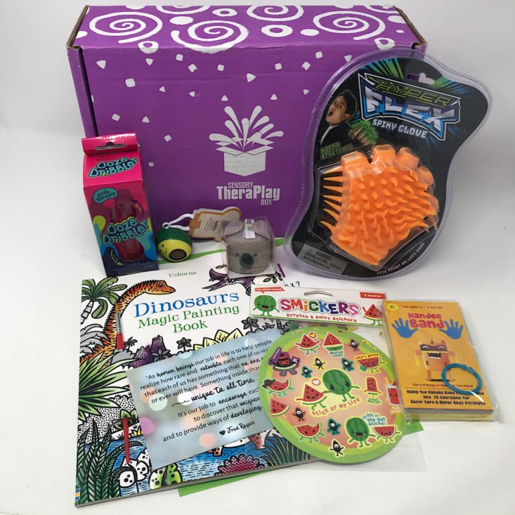 Sensory TheraPlay box with books and toys.