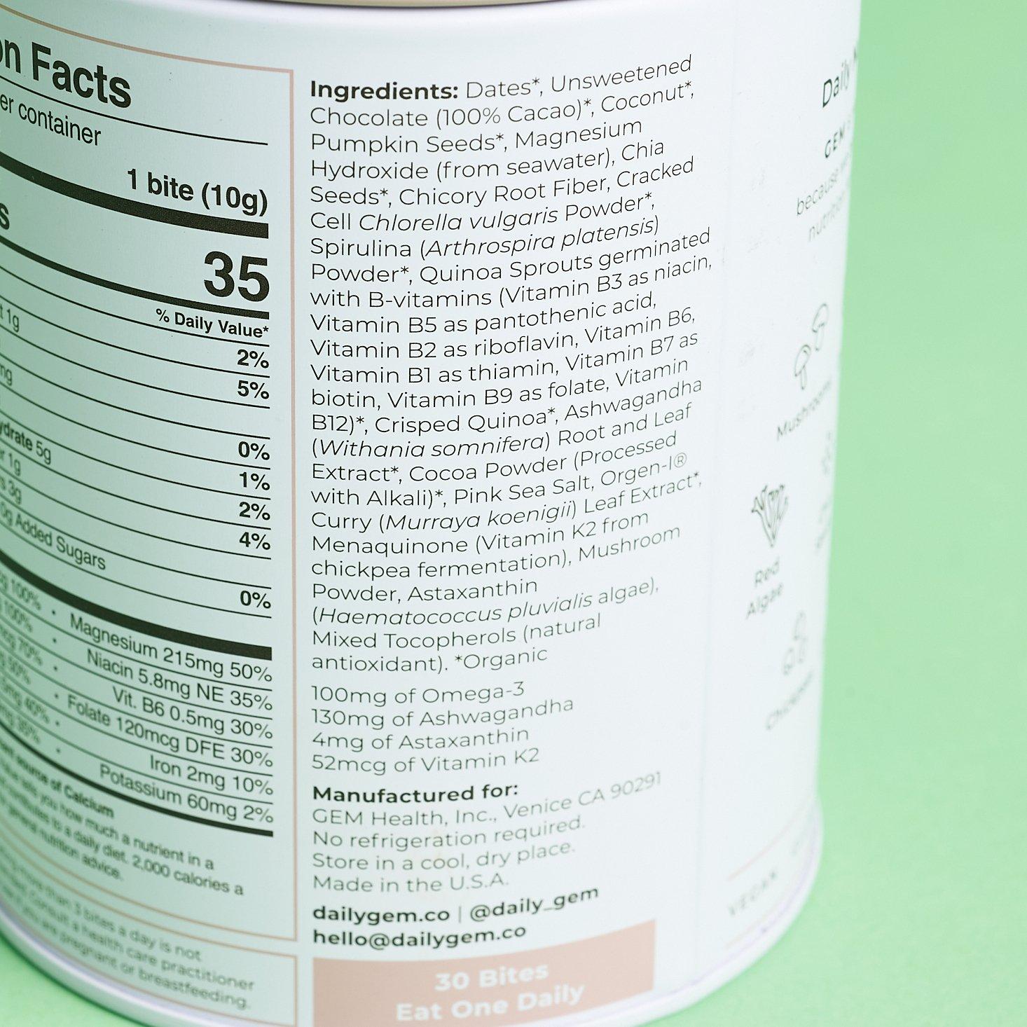 ingredients for GEM on side of canister