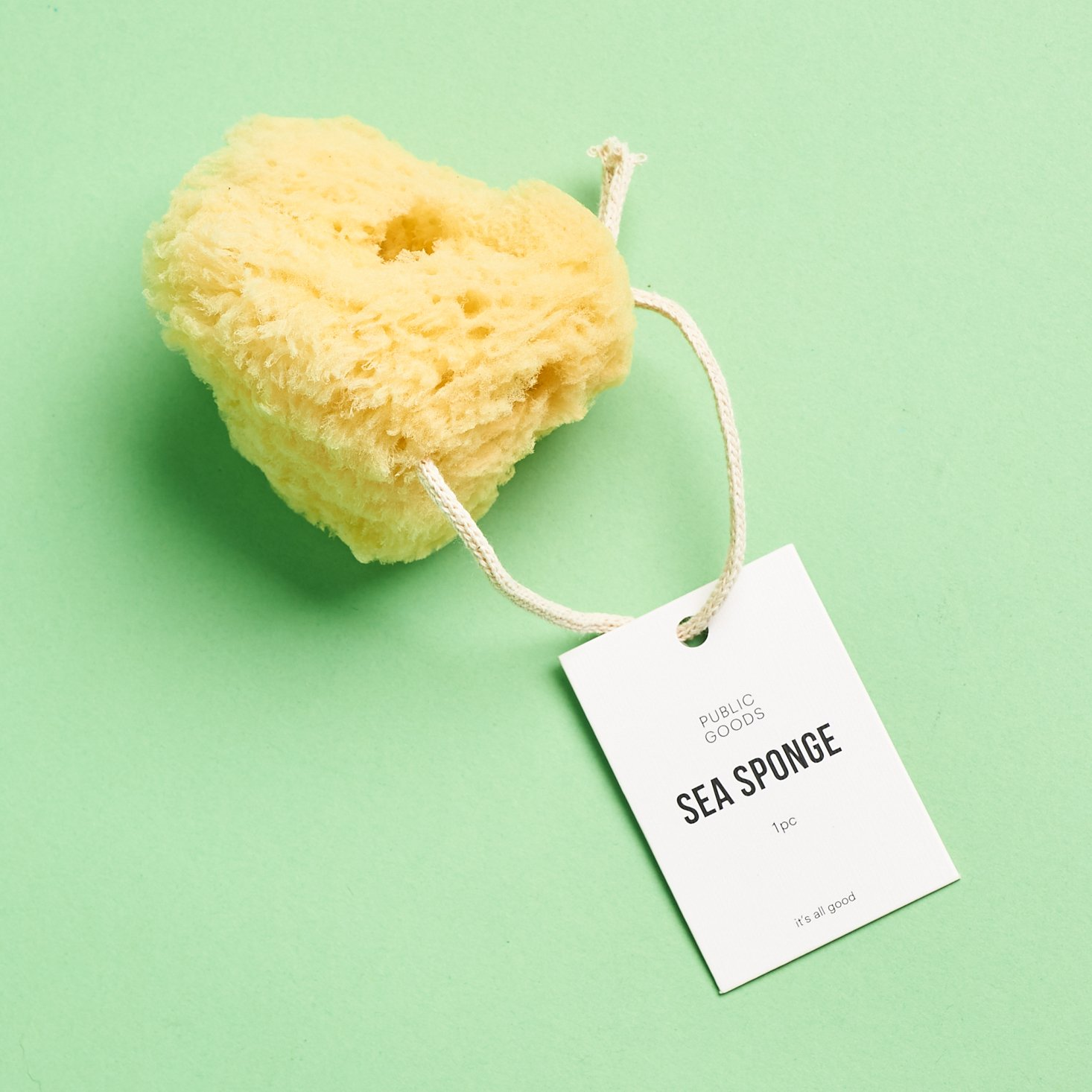 Public Goods Sea Sponge with tag attached