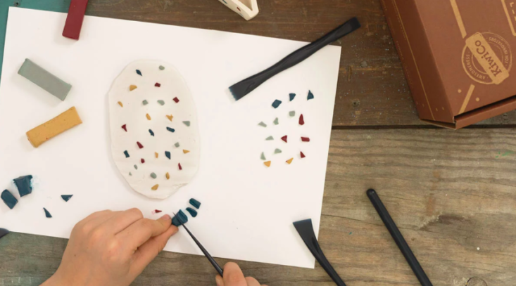 Terrazzo clay organizer project from Maker Crate.