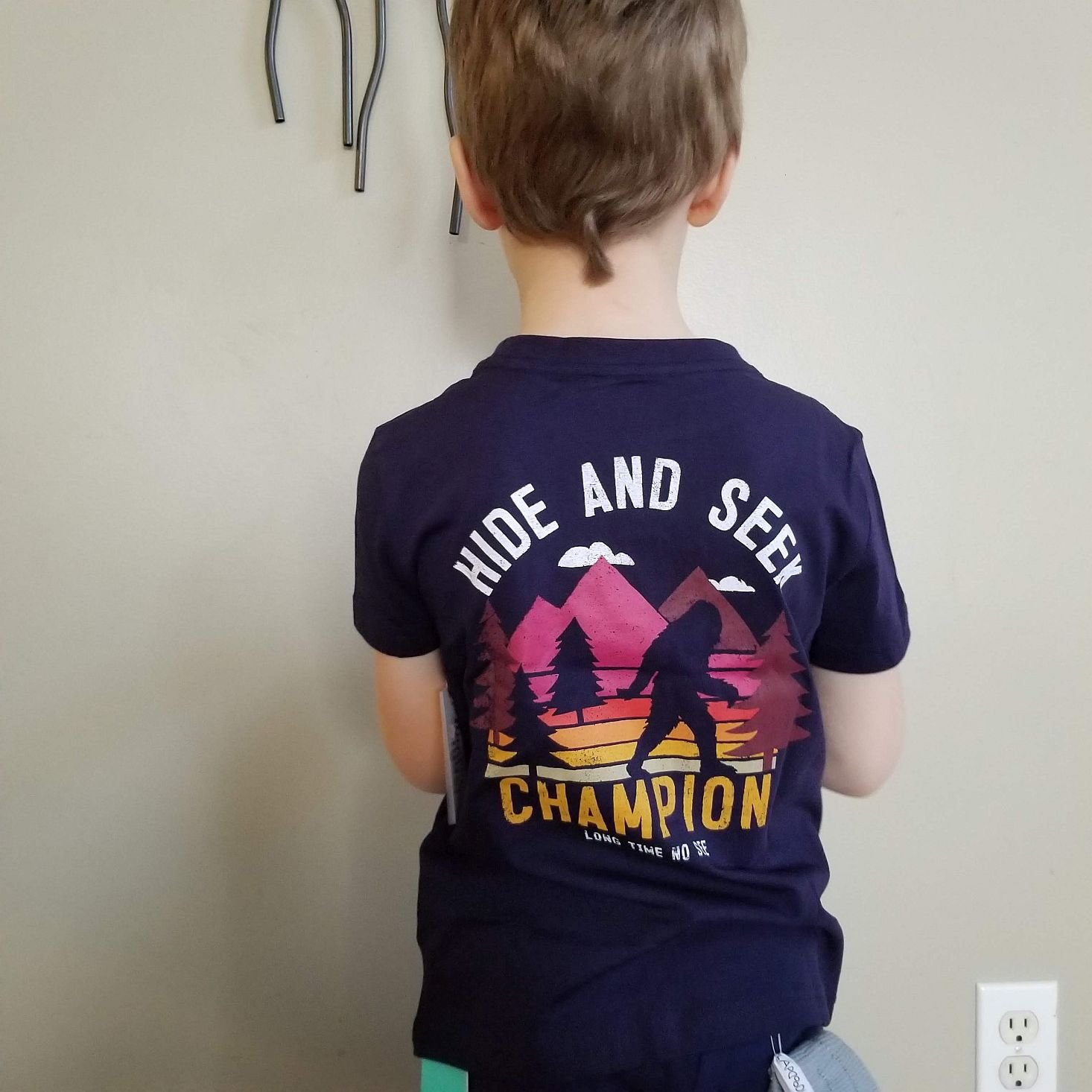 Stitch Fix Kids Boys March 2020 big foot tee modeled back