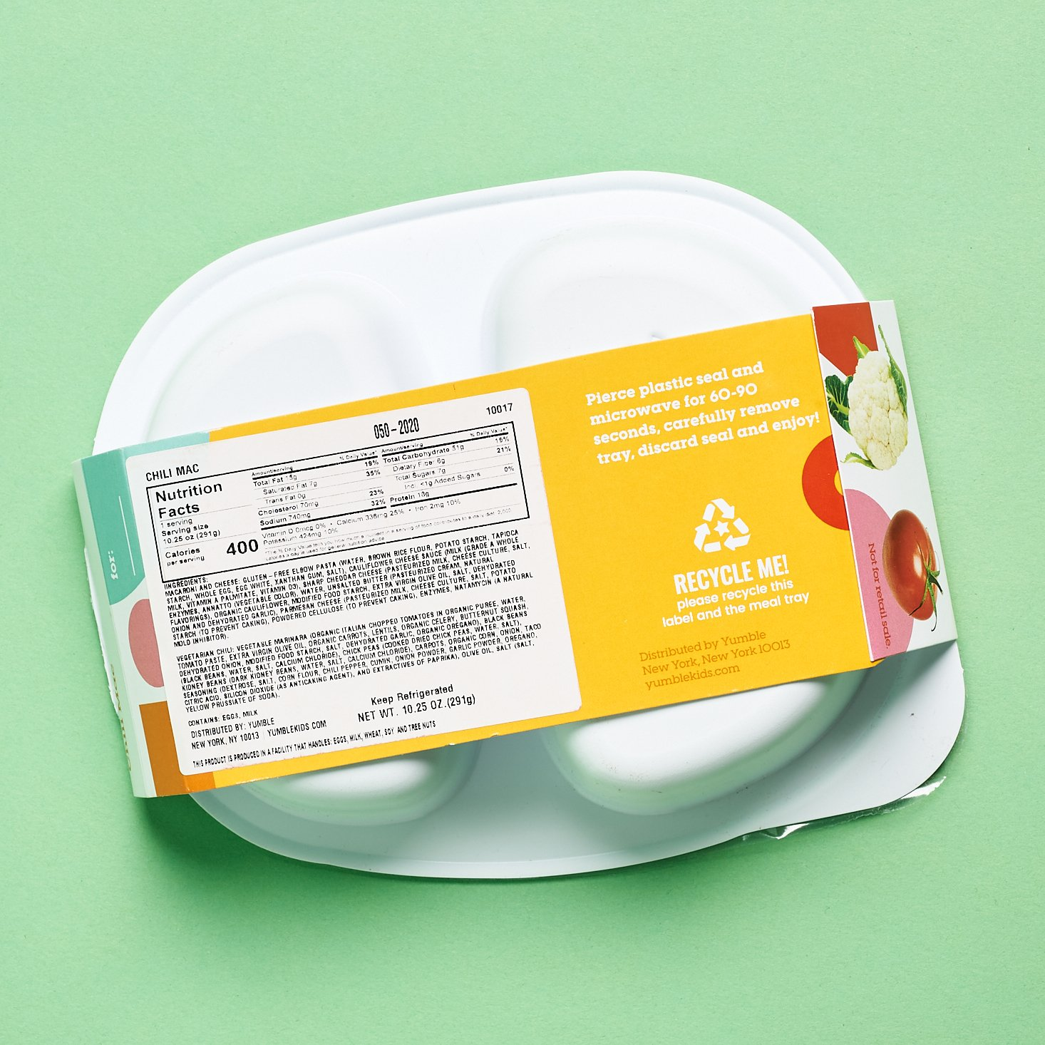 Yumble Subscription nutrition facts for chili mac kids meal