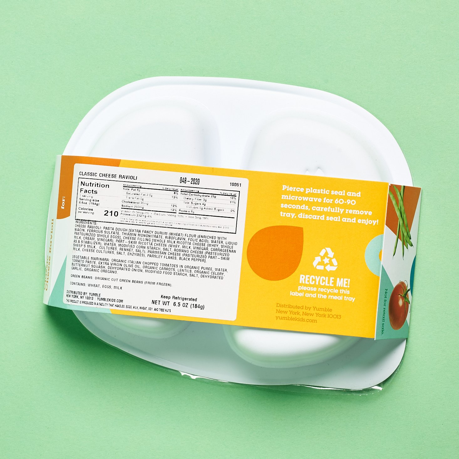 Yumble Subscription nutrition facts for ravioli meal