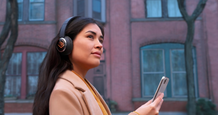 Woman Listening to Audible