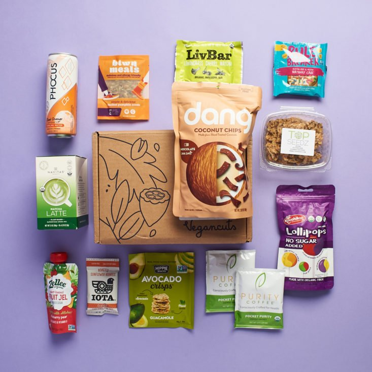 All snacks shown from the June 2020 Vegancuts Snack Box.