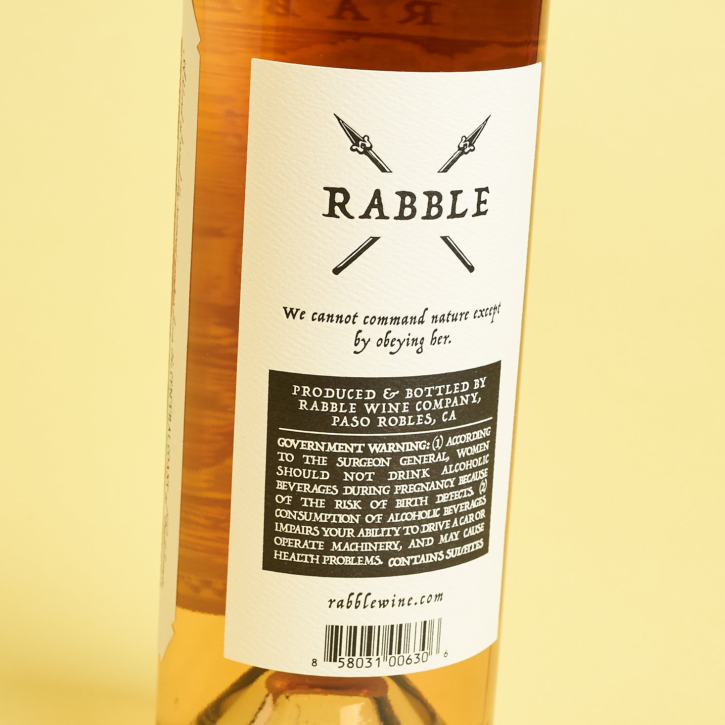 rabble rosé back label