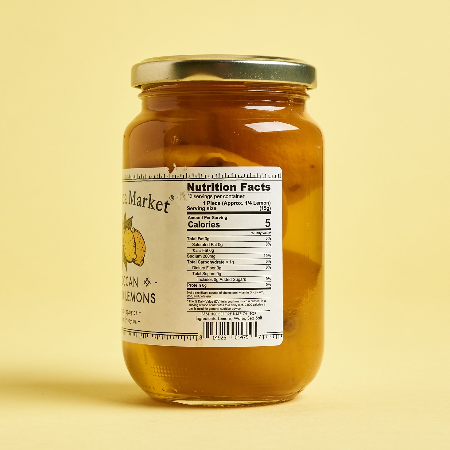 The nutritional facts of the preserved lemons
