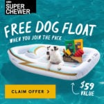 Today Only! Super Chewer Coupon – Free Dog Pool Float With Your First Box!