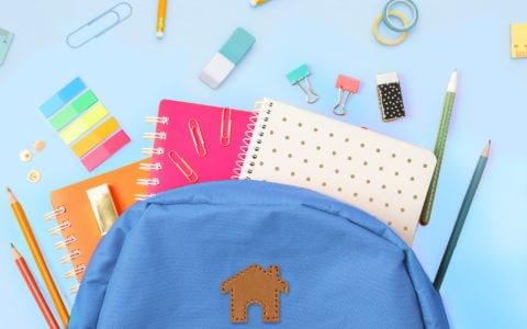 Back To School Image with Backpack and School Supplies
