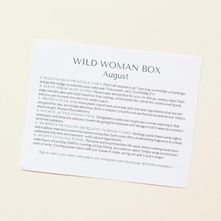 Wild Woman August 2020 info sheet