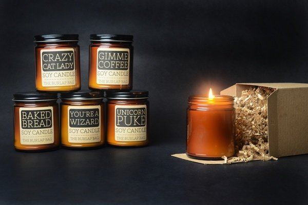 Candles you can expect to receive from The Burlap Bag subscription.