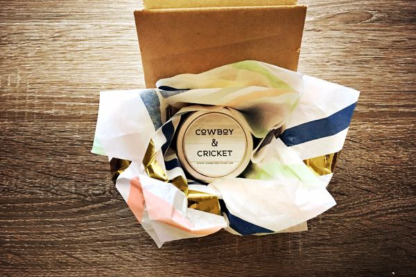 Unboxing of Cowboy & Cricket candle subscription box.