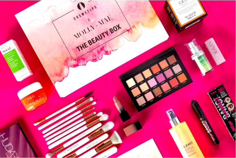 Flat lay of Cosmetics x Molly Mae Beauty Box from October 2020