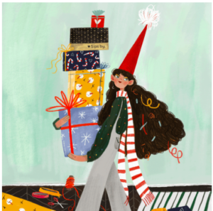 Illustration of girl holding tower of Sips by Holiday Boxes Illustration
