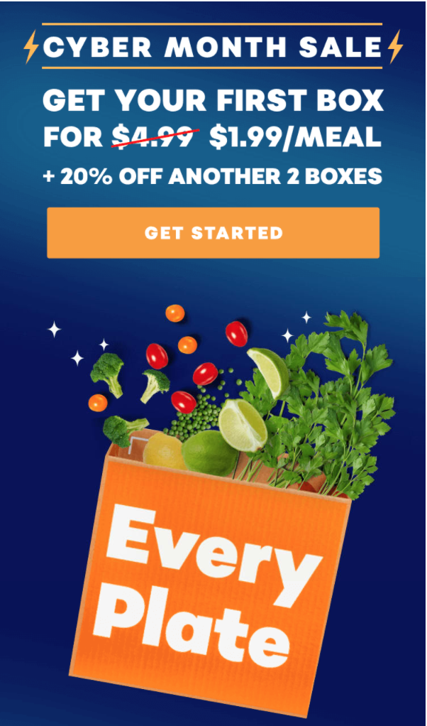 EveryPlate Cyber Month Sale – Save 60% Off First Box + 20% Off Next Two Boxes!