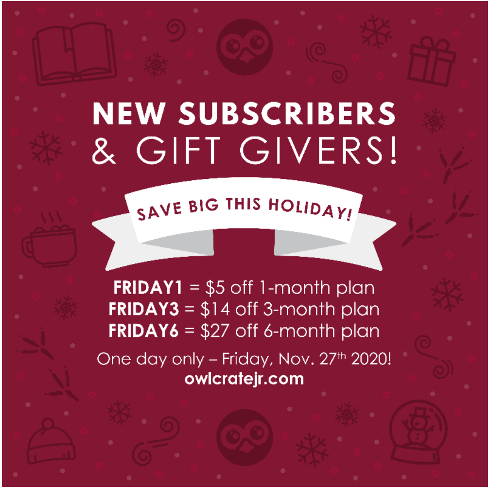 OwlCrate Jr Black Friday Deal – Up To $27 Off Subscriptions!