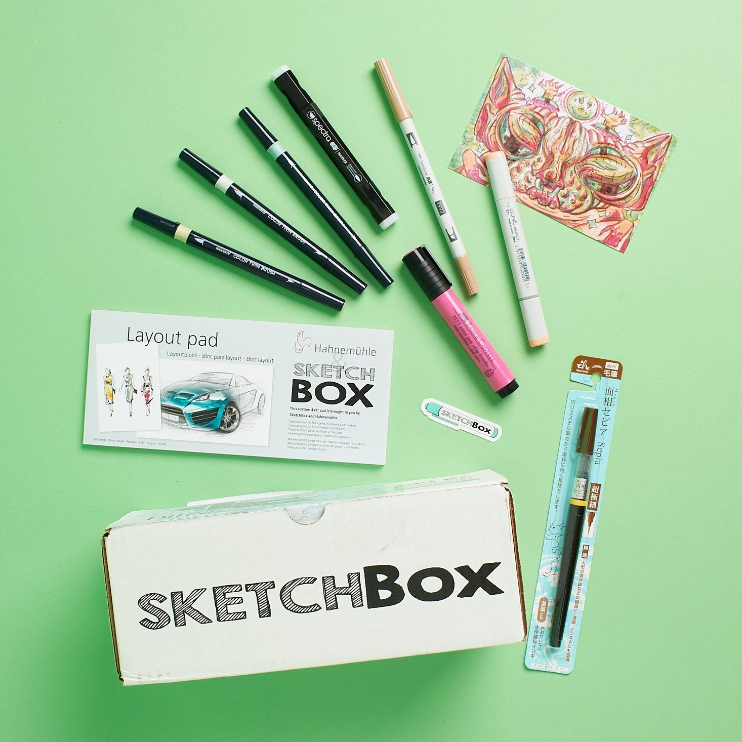 sketch box with art supplies