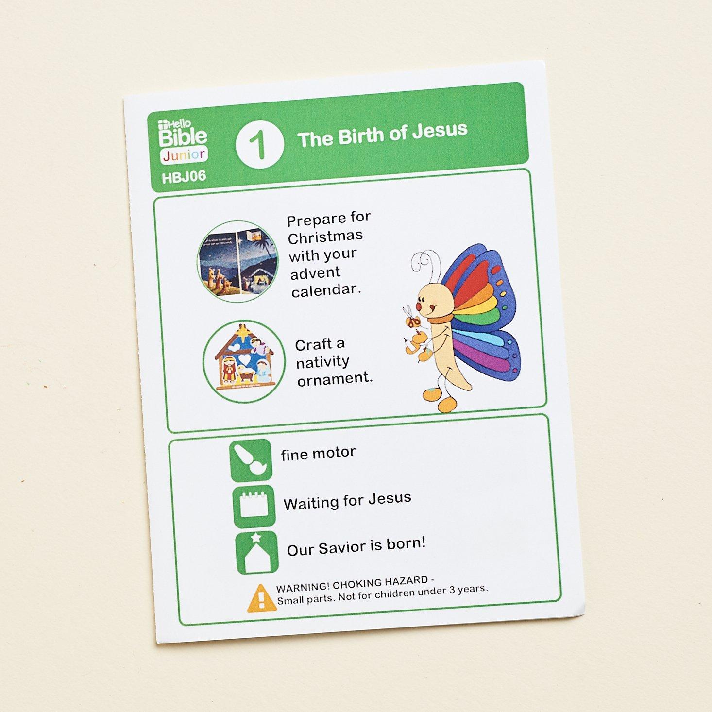 Hello Bible November 2020 activity 1 card