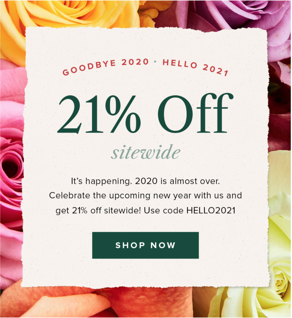 The Bouqs Coupon – 21% Off Sitewide!