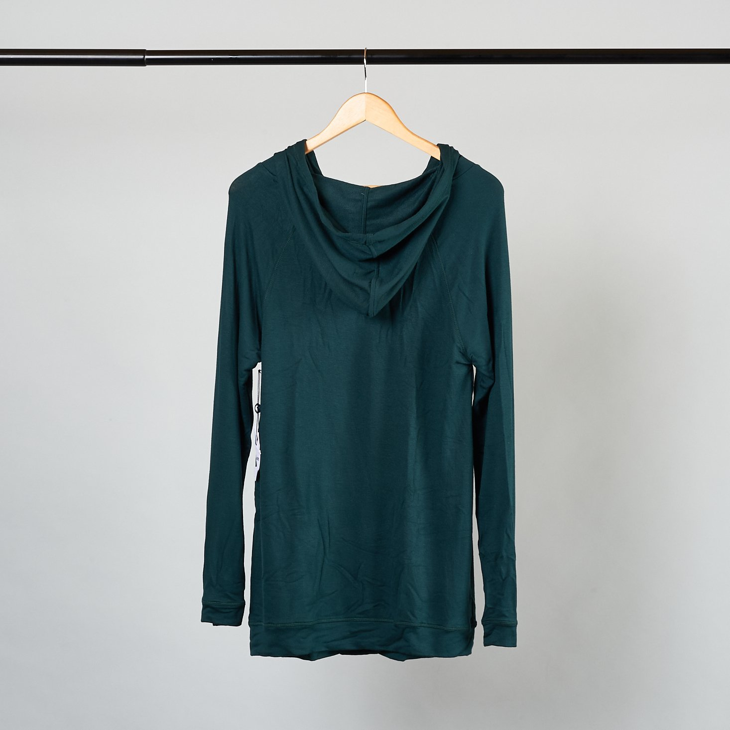 back of green hoodie from Stitch Fix Maternity