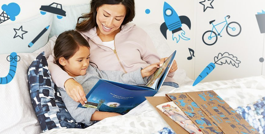 mother reading story book to child in bed