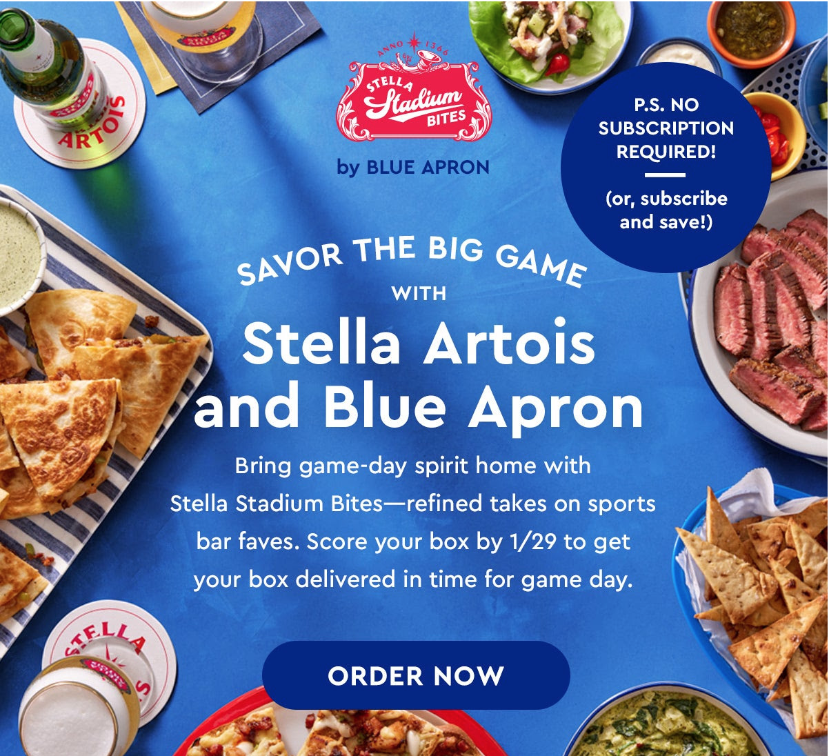 Blue Apron x Stella Artois Stadium Bites Box Available Now+ $100 Off Your First Five Boxes!