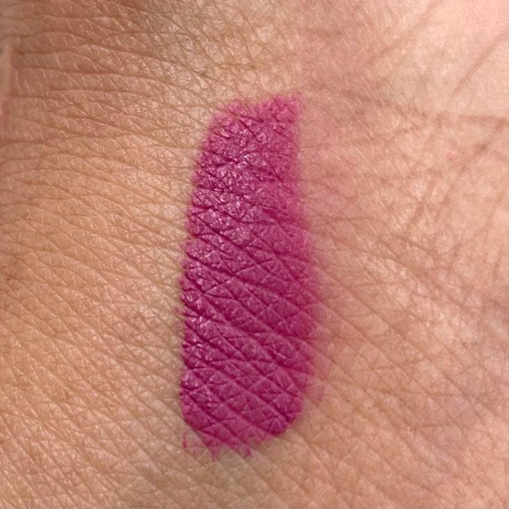 Model Rock Cosmetics Rock Chic Liquid Lipstick Swatch for The Beem Box March 2021