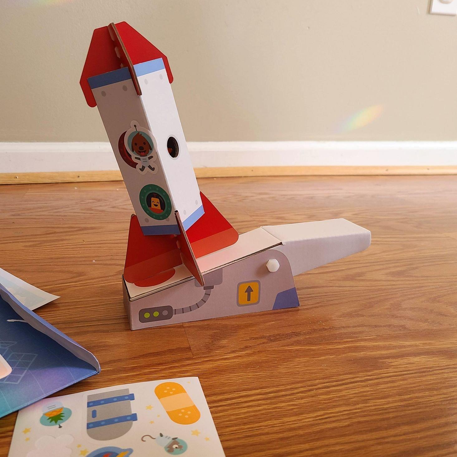 Sago Mini Box March 2021 rocket and launch pad assembled